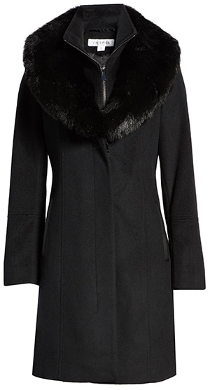 Via Spiga faux fur collar wool blend coat | 40plusstyle.com