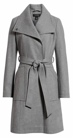 Gray belted coat