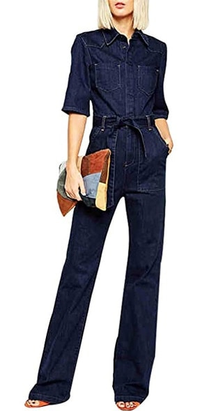 denim jumpsuit | 40plusstyle.com