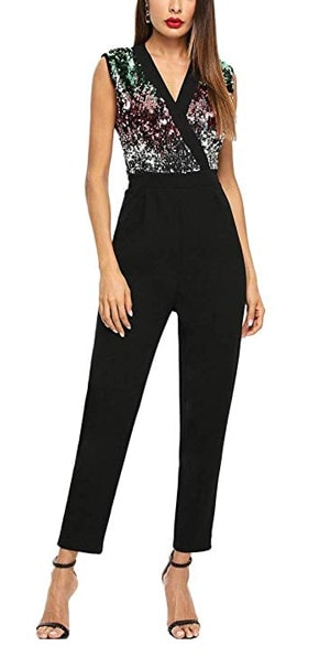 sequinned jumpsuit | 40plusstyle.com