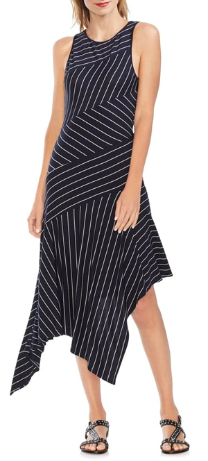 Stripe asymmetrical dress | 40plusstyle.com