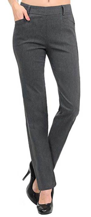 VIV Collection Women's Straight Fit Trouser Pants | 40plusstyle.com