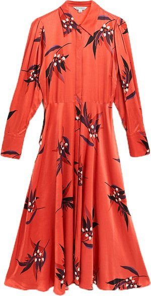 Marks & Spencer satin floral print midi shirt dress | 40plusstyle.com