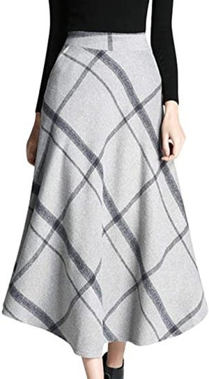 Tanming wool plaid A-line skirt | 40plusstyle.com