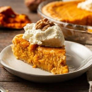 sweet potato pie slice with whipped cream