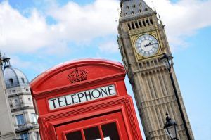 Red Telephone Box And Big Ben In London
