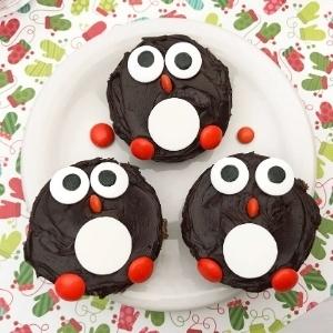penguin brownies on plate