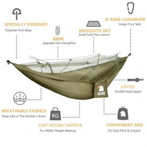 Covacure Camping Hammock Lightweight Portable Double Parachute Hammocks