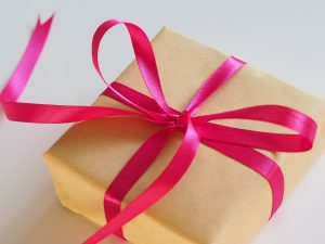 present box with a ribbon