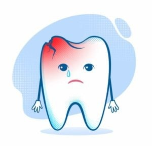 cracked tooth cartoon character