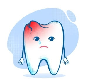 cracked tooth vector illustration
