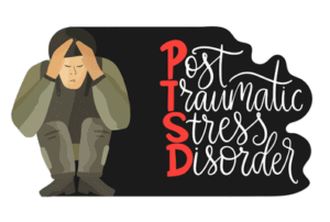 Crouching soldier with the words PTSD