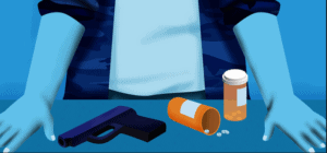 image of person self-medicating in unhealthy, dangerous ways