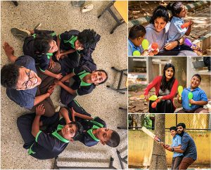 Little More Love members teaching children in Bangalore
