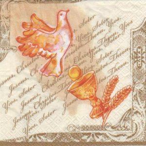 Serviette papier colombe et calice 33 cm x 33 cm