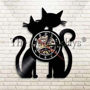 Horloge couple de chat motif vinyl