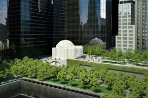 A rendering of the new St. Nicholas Greek Orthodox Church, with conceptual images of a landscaped open space known as Liberty Park