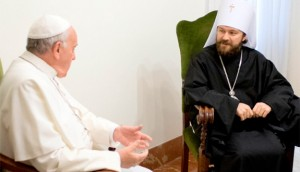 Pope Francis meets with Metropolitan Hilarion of Volokolamsk, head of ecumenical relations for the Russian Orthodox Church, during a private meeting at the Vatican Nov. 12, 2013. (CNS photo/L'Osservatore Romano vi a Reuters)