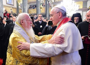 Patriarch Bartholomew and Pope Francis embrace. (Courtesy of Archon Dimitrios Panagos)