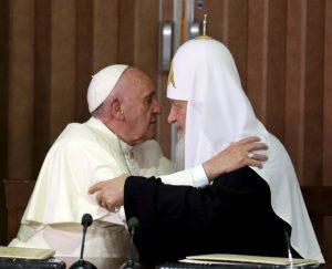 Reuters Pope Francis, head of the Catholic Church, met Russian Orthodox Patriarch Kirill in Havana earlier this year.