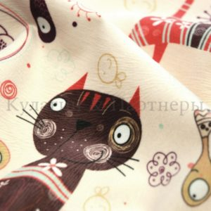 Обивочная мебельная ткань микровелюр Cats