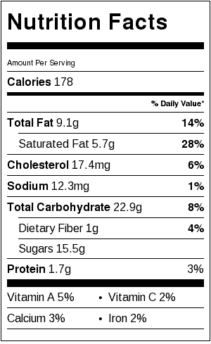 Chocolate Cherry Squares Nutrition Label. Each serving is one cookie.