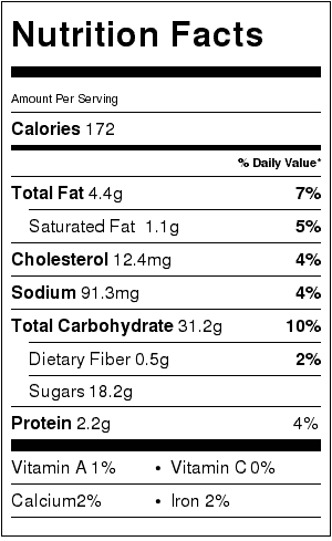 Grandma Sadie's Brown Sugar Sugar Cookies Nutrition Label. Each serving is one cookie.