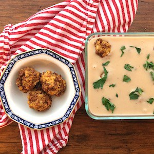 Vegetarian Swedish Meatballs with dairy free, gluten free sauce