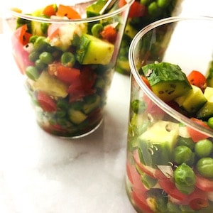 Peas, Cucumbers and Tomatoes make a beautiful salad.