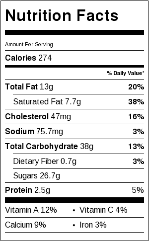 Pineapple Upside Down Cake Nutrition Label. Each serving is 1/12th of a 10-inch cake.