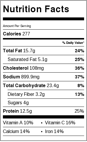 Vegetarian Mushroom Meatballs Nutrition Label. Each serving is 4 meatballs (does not include sauce).
