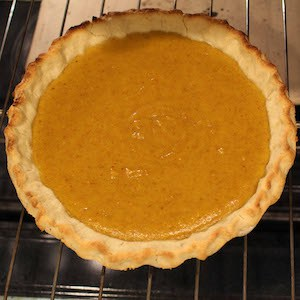 Pumpkin pie baked with a Sweet Gluten Free Pie Crust