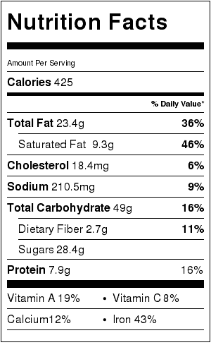 Puppy Chow Chocolate Peanut Butter Cookies (Gluten Free) Nutrition Label. Each serving is about 1/2 cup.