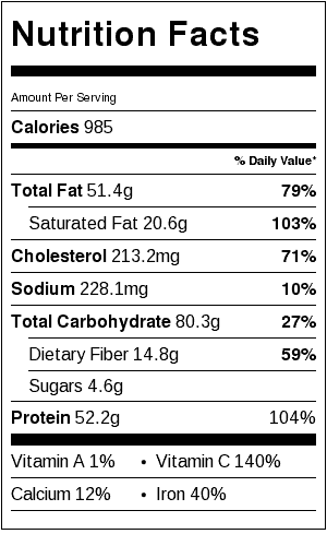 Baked Corned Beef Dinner (includes Potatoes) Nutrition Label. Each serving is about 1/2 pound meat and 1/6 of the vegetables.