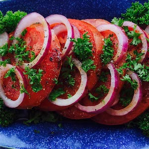 Simple Sliced Tomato Onion Salad. Yum.
