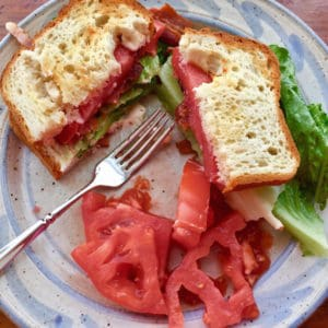 April is BLT Sandwich Month. A Bacon Lettuce and Tomato Sandwich, whether on gluten free bread (as this one is) or wheat bread, is so scrumptious!