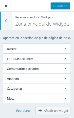 bloques área widgets wordpress