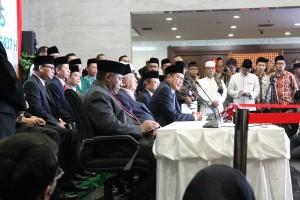 Menteri Agama Lukman Hakim Saifuddin pada konferensi pers usai Sidang Isbat 1 Syawal 1437H, Senin (4/7), di Kantor Kemenag, Jakarta.