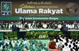 "Presiden saat memberikan sambutan pada acara Silaturahim Nasional Ulama Rakyat ""Doa Untuk Keselamatan Bangsa"", yang digekar di Econvention Hall, Ancol, Jakarta Utara, Sabtu (13/11) sore."
