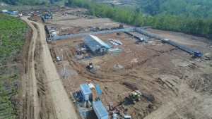 Pembangunan Bendungan Cipanas yang berada di Kabupaten Sumedang dan Indramayu, Jawa Barat. (Foto: Kementerian PUPR)