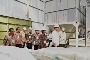 Presiden Jokowi meninjau pabrik PT MBB, yang 49% sahamnya dimiliki petani, di Desa Majasari, Kec. Sliyeg, Kab. Indramayu, Kamis (7/6) pagi. (Foto: OJI/Humas)