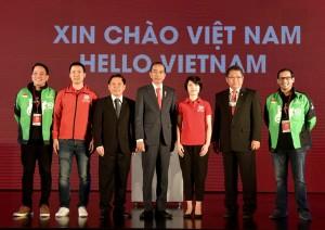 Presiden Jokowi saat menghadiri peluncuran Go-Viet di Hotel Melia, Hanoi, Vietnam, Rabu (12/9). (Foto: BPMI)