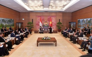 Presiden Jokowi bertemu Ketua Parlemen Vietnam bersama delegasi kedua negara di Hanoi, Rabu (12/9). (Foto: BPMI)