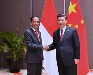 Presiden Jokowi bertemu Presiden Xi Jinping di Hotel Stanley, Port Moresby, Sabtu (17/11) petang. (Foto: BPMI).