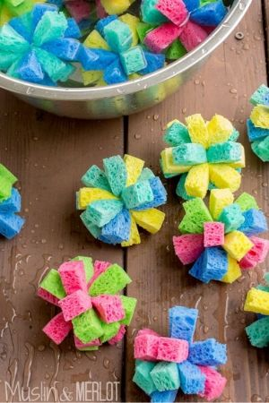 Fireworks Made from Sponges used to play a patriotic water game.