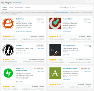 The wordpress plugins section when you start a travel blog