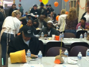 Thanksgiving for the homeless - Cathedral Kitchen, Camden NJ.  New socks provided by The Joy Of Sox