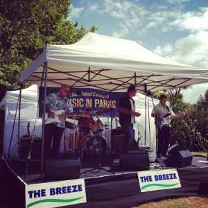 covered stage hire - our Small Stage 4.8 by 3m for Music In Parks