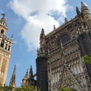 At the entrance to Seville Cathedral
