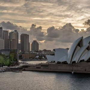 Sydney Opera House in the harbor
